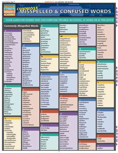 Commonly Misspelled & Confused Words Quick Study Reference Guide By Berner, Steven